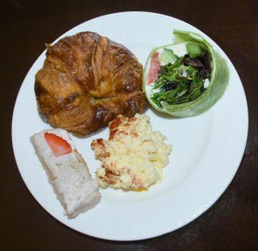 Croissant, Egg Salad, Feta on Cottage Loaf, Mediterranean Salad Warp