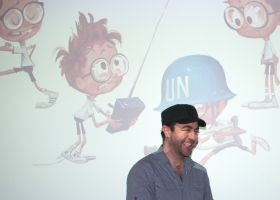 Jason Schleifer, Head of Character Animation, MR PEABODY AND SHERMAN with Sherman's various incarnations,