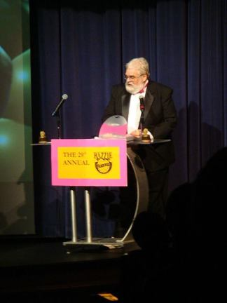 John WIlson presiding over the annual Razzie Awards.